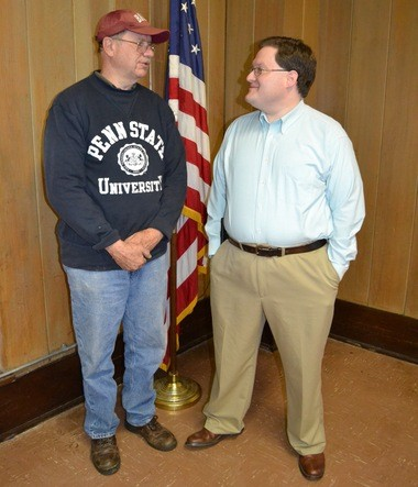 Chickasaw seniors met at the Civic Center for Early Bird Breakfast on Feb. 4. Guests included Charles Czajkowski, left, and Chickasaw City Council member Adam Bourne. (Jo Anne McKnight / Press-Register Correspondent)