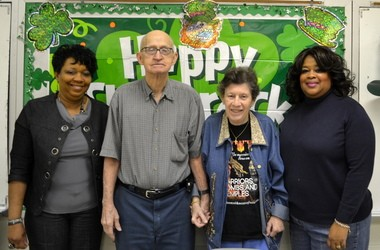 At Parkway SAIL Center for seniors, participants recently planned a celebration of St. Patrick's Day. From left are Cora Edwards, Paul Parker, Linda Jones and center director Freda Mitchell. (Jo Anne McKnight/Press-Register Correspondent)