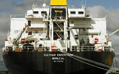 International Shipholding Corp.'s U.S.-flagged vessel SULPHUR ENTERPRISE, a molten sulphur carrier, Oct. 24, 2007 in Mobile, Ala. (Press-Register file photo)
