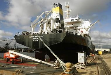 International Shipholding's vessel Sulphur Enterprise is shown in drydock at Atlantic Marine on Oct. 24, 2007 in Mobile, Ala. (Press-Register file photo)