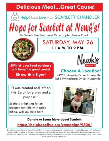 Newk's fundraiser to buy wheelchair van for Huntsville woman