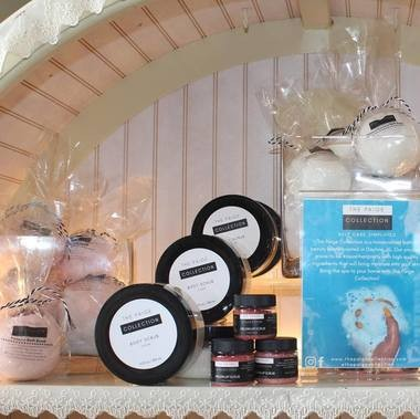 The bath and beauty line features bath bombs and crumbles, body and lip scrubs, face masks and more items to come. The handcrafted products are vegan and cruelty free.