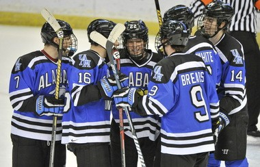 UAH's Sebastian Geoffrion celebrates with teammates after his unassisted goal. UAH vs. Adrian hockey at Von Braun Center Propst Arena Friday Jan. 4, 2013. Adrian won 4 to 2. (Bob Gathany/bgathany@al.com)