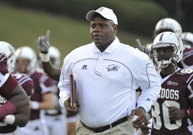 Alabama A&M head football coach Anthony Jones trots out on the field against Prairie View at Louis Crews Stadium Saturday Sept. 15, 2012. The Bulldogs released their 2013 schedule Tuesday. (The Huntsville Times/Bob Gathany)