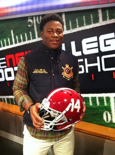 Reuben Foster committed to Alabama on The New College Football Show on Fox Sports South. (Photo tweeted by Chad Simmons)