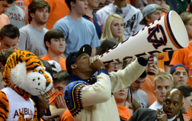 Cam Newton cheers the Tigers past Alabama (Julie Bennett / al.com)