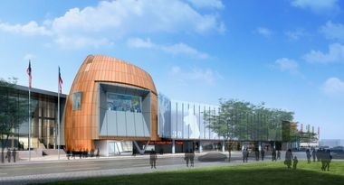 Artist's rendering of the new College Football Hall of Fame in downtown Atlanta.