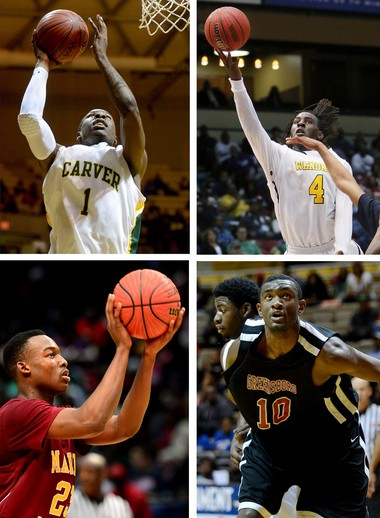 Clockwise, from top left: Carver-Montgomery's Jeremy Johnson, Wenonah's De'Runnya Wilson, Greensboro's Jimmie Taylor and Madison Academy's Josh Langford are considered to be top candidates for the Mr. Basketball Award. (File photos)