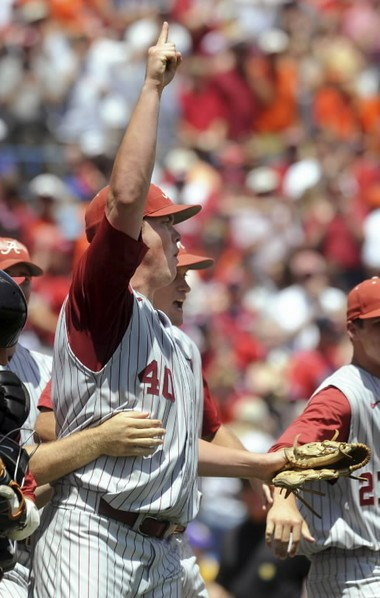 Jimmy Nelson celebrates 2010 SEC tournament win over Auburn (The Birmingham News/Mark Almond)