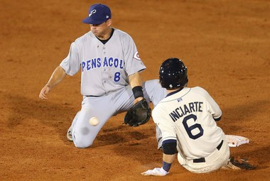 Mobile center fielder Ender Inciarte steals second base as Pensacola shortstop Devin Lohman takes the throw during a 10-2 Southern League victory by the BayBears over the Blue Wahoos on Wednesday, April 10, 2013, at Hank Aaron Stadium in Mobile. (Bill Starling/bstarling@al.com)