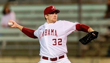 Sophomore right-hander Spencer Turnbull is shown delivering the first pitch of Alabama's 2013 season. (AL.com/Vasha Hunt)