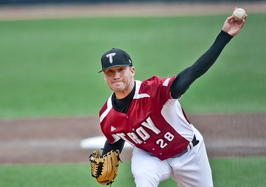 Troy's Shane McCain was named the Sun Belt Conference's Pitcher of the Year on Tuesday. The standout was sidelined the entire 2012 season following labrum surgery. He returned this season to post an 8-1 record and lead the league in strikeouts. (Photo courtesy of Troy University.)
