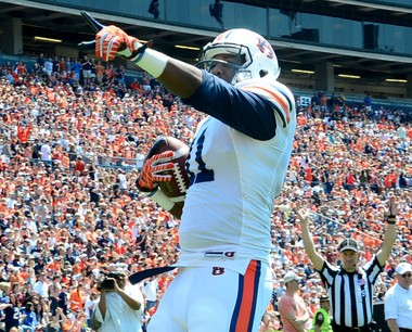Auburn tight end Brandon Fulse celebrates during the Auburn A-Day game as the side judge signals a touchdown at Jordan-Hare Stadium in Auburn, Ala., Saturday, April 20, 2013. (Mark Almond/malmond@al.com)