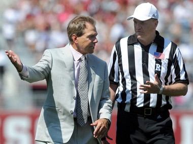 Alabama Coach Nick Saban talks to a referee during the second quarter of the Alabama A-Day football game at Bryant-Denny Stadium in Tuscaloosa, Ala., on Saturday, April 14, 2012. (Mark Almond/malmond@al.com)