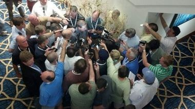 Nick Saban is surrounded by the media while speaking at the SEC spring meetings today. (Joel Erickson/jerickson@al.com)