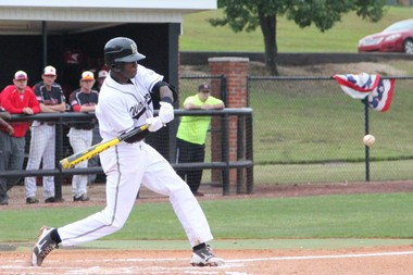Tim Anderson connects for East Central Community College. Anderson is a projected first round MLB Draft pick. (contributed by East Central CC).