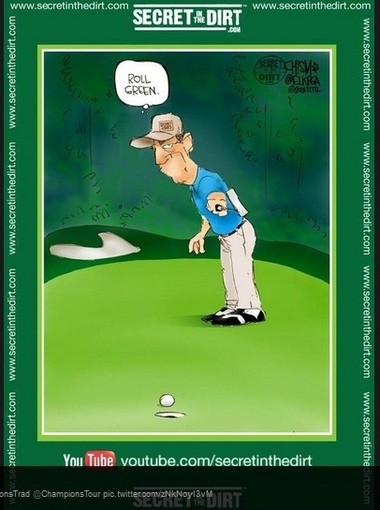 This is the cartoon that Steve Elkington tweeted on Wednesday, praising the condition of the course at Shoal Creek.