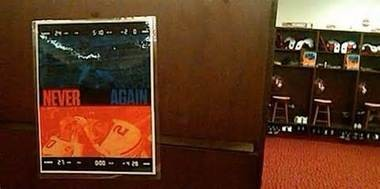 This poster reminding the Crimson Tide players of Auburn's comeback appeared in the Alabama football building after the 2010 Iron Bowl.