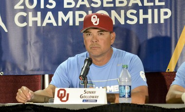 Oklahoma baseball coach Sunny Golloway interviewed for the Auburn job earlier this week and toured campus Friday. (AP Photo/Michael Shroyer)