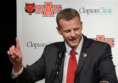 Arkansas State hired Bryan Harsin, a Texas offensive coordinator, to replace Gus Malzahn in December 2012. (Associated Press)