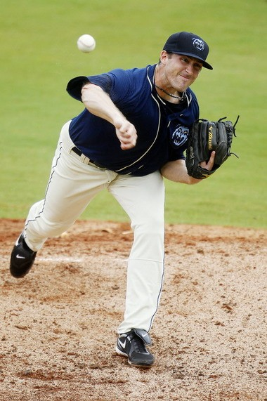Bo Schultz pitches for the Mobile BayBears against the Montgomery Biscuits during a Southern League game on July 6, 2013, at Hank Aaron Stadium in Mobile, Ala. (Mike Kittrell/mkittrell@al.com)