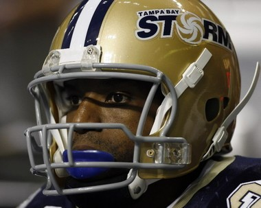 Lawrence Samuels of the Tampa Bay Storm awaits the opening kickoff for an Arena Football League game against the Philadelphia Soul at the St. Pete Times Forum in Tampa, Fla., on June 9, 2007. (Press-Register file)