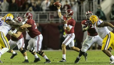 Alabama quarterback AJ McCarron passes against LSU during an SEC game on Saturday, Nov. 9, 2013, at Bryant-Denny Stadium in Tuscaloosa, Ala. (Vasha Hunt/vhunt@al.com)