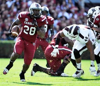South Carolina running back Mike Davis carries the ball against Mississippi State during an SEC game on Nov. 2, 2013, in Columbia, S.C. (AP Photo)