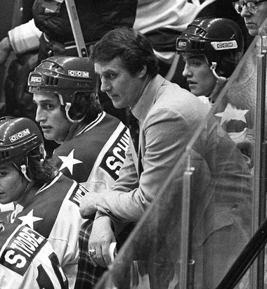 USA coach Herb Brooks, center, looks on from the bench during the closing minutes of the semifinal game against the USSR at the 1980 Winter Olympic Games, in a Feb. 22, 1980 photo, in Lake Placid, N.Y. (AP Photo)
