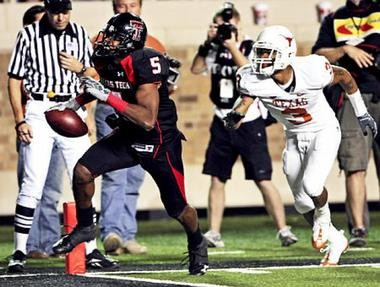 Texas Tech wide receiver Michael Crabtree created one of college football's biggest moments in 2008 on a game-winning touchdown with one second left to beat Texas. (The Associated Press)