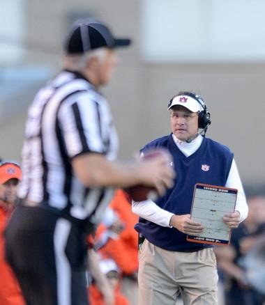 Auburn head coach Gus Malzahn eyes an official after a penalty call during the fourth quarter Saturday, Oct. 19, 2013, at Kyle Field in College Station, Texas. (Julie Bennett/jbennett@al.com)