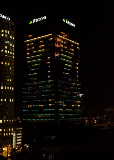 A golfer can be seen on all four sides of the Regions Center building downtown. (Submitted photo)