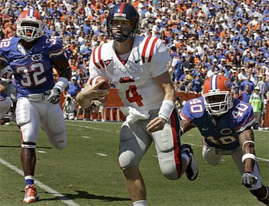 Jevan Snead (4) led Ole Miss to a 31-30 upset of eventual national champion Florida in the last meeting between the schools in 2008. They'll play again in 2015. (Associated Press)