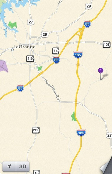 The purple pin displays the approximate location of the accident in Troup County, Ga. (Apple Maps)