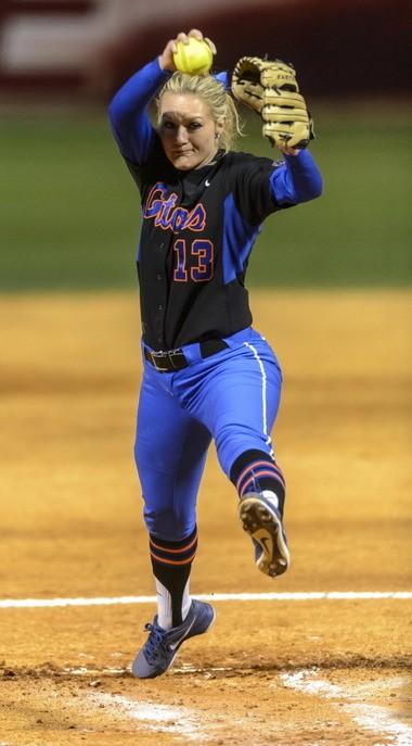 Hannah Rogers pitches for Florida against Alabama on March 6, 2013, at Rhoads Stadium in Tuscaloosa, Ala. (Vasha Hunt/vhunt@al.com)