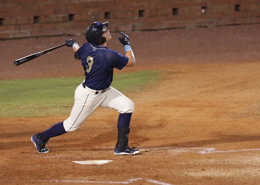Mobile batter Brandon Drury eyes the ball as the Mobile BayBears host the Huntsville Stars Tuesday, Aug. 26, 2014, at Hank Aaron Stadium in Mobile, Ala. (Mike Brantley/mbrantley@al.com)