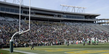 A crowd announced at 28,355 that looked larger and sounded louder watches UAB fall short in its upset bid against unbeaten Marshall 23-18 on Nov. 22, 2014, at Legion Field in Birmingham, Alabama. (Mark Almond/malmond@al.com)