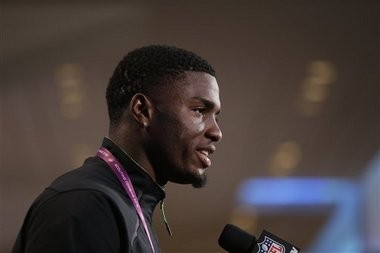 Ole Miss wide receiver Laquon Treadwell speaks during a press conference at the NFL Scouting Combine in Indianapolis on Thursday, Feb. 25, 2016.