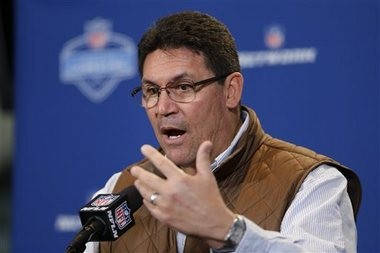 Carolina Panthers coach Ron Rivera speaks during a press conference at the NFL Scouting Combine in Indianapolis on Thursday, Feb. 25, 2016.