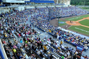 The crowd is shown during the SEC Baseball Tournament championship game at the Hoover Metropolitan Stadium in Hoover, Ala., Sunday, May 26, 2013. (Mark Almond/malmond@al.com)