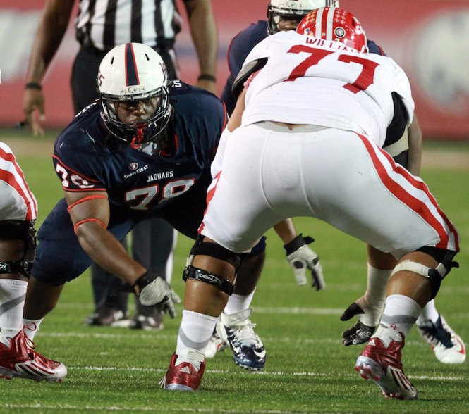 South Alabama nose tackle Tre Alford (78) is likely out for the season with a knee injury. (Chip English/South Alabama athletics)