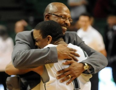 UAB assistant coach Donnie Marsh hugs Aaron Johnson after a 57-56 win over Southern Miss on January 20, 2010 at Bartow Arena in Birmingham, Ala. (AL.com file photo)