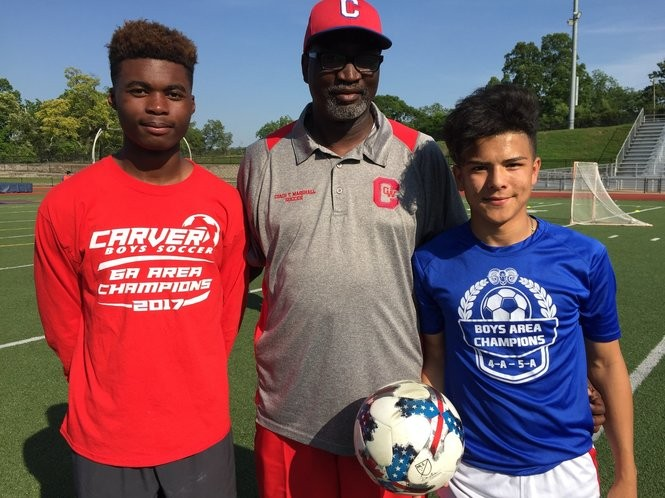The Carver boys' soccer team won their area this season and advanced to the 6A state semifinals. Head coach Tenell Marshall started the program four years ago. Corey Toles (left) and Alan Garcia (right) are senior leaders.