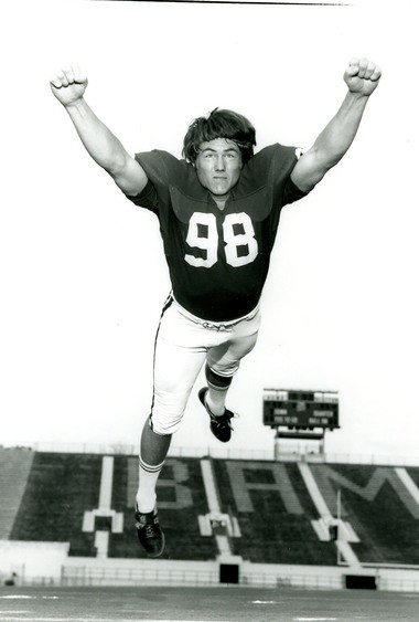 Alabama's Leroy Cook is shown in a publicity photo from 1973. Cook was a two-time All-America defensive end for the Crimson Tide. (Photo courtesy of Paul W. Bryant Museum)