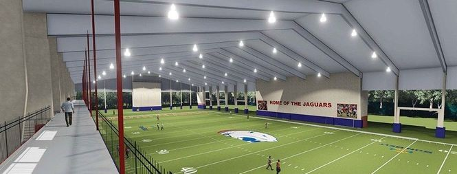 An artist's rendering of South Alabama's covered football practice facility, which collapsed while under construction on July 22, 2017. (Image courtesy of South Alabama athletics)