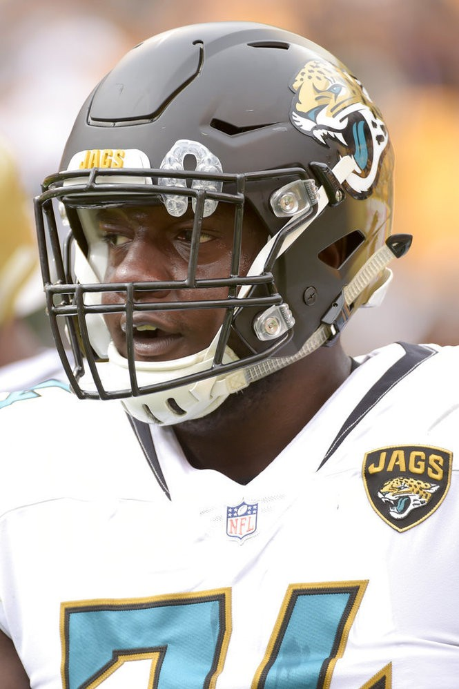 Jacksonville Jaguars left offensive tackle Cam Robinson warms up before an NFL game against the Pittsburgh Steelers on Sunday, Oct. 8, 2017, in Pittsburgh.