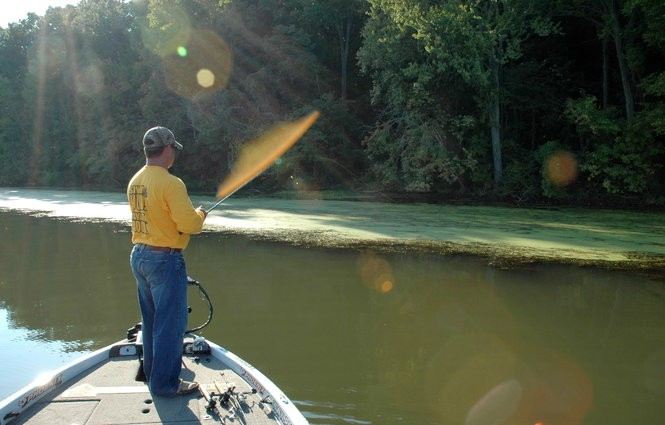 Long casts and a quiet approach can be key to success when froggin' Guntersville's weed mats, which are likely to be at their prime for the next several weeks.