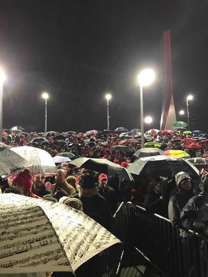 Thousands of fans stood in the rain for over two hours to enter the Mercedes-Benz Stadium for the College Football Playoff national championship. It was 37 degrees and raining at kickoff.
