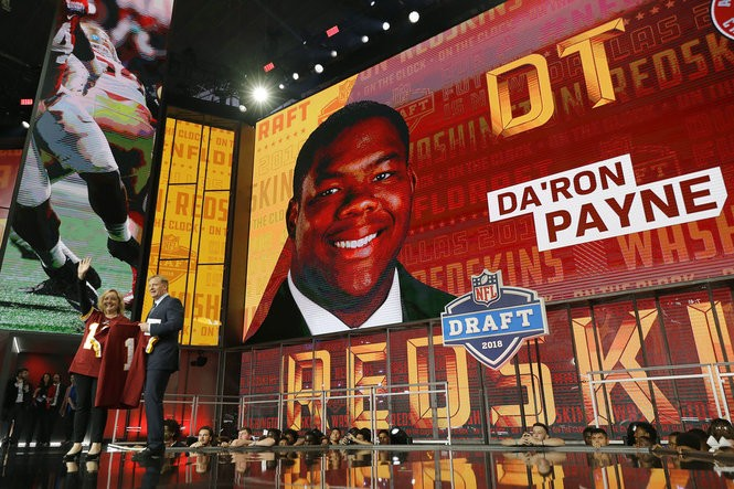 Commissioner Roger Goodell announces the Washington Redskins' selection of Da'Ron Payne during the first round of the NFL Draft on Thursday, April 26, 2018, in Arlington, Texas.