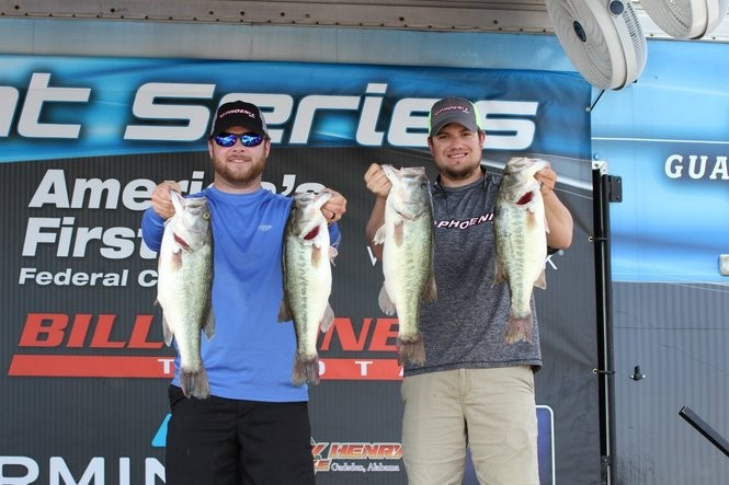 Nolan Spencer (L) and Jonathan Reese won the Alabama Bass Trail event at Lake Weiss last Saturday with a total catch approaching 27 pounds.